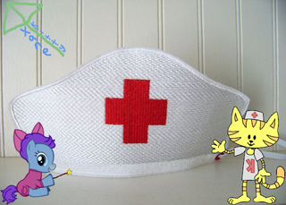Picture: A nurse hat with a My Little Pony character and Nurse Kitty.