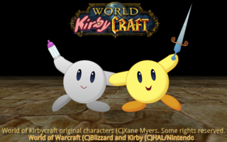 Picture: A picture of two kirby holding a sword and baby bottle.